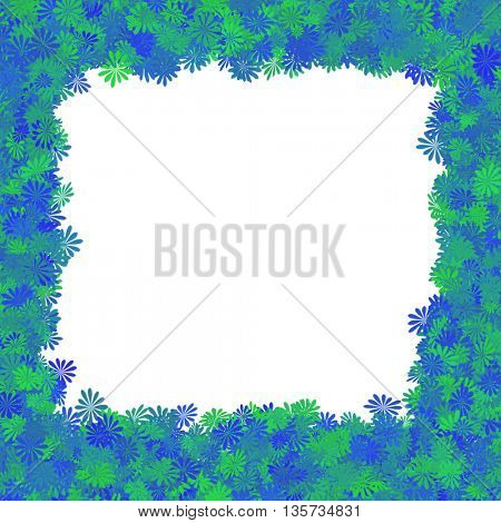background made of blue and green flowers