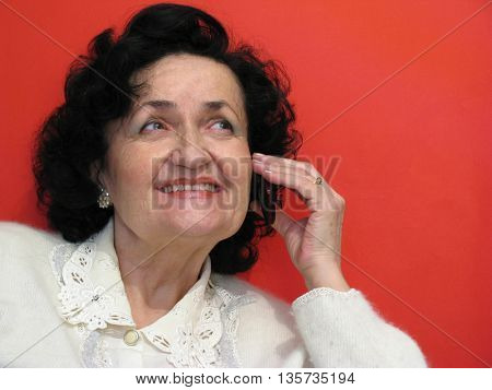 beauty mature lady talk on cell phone