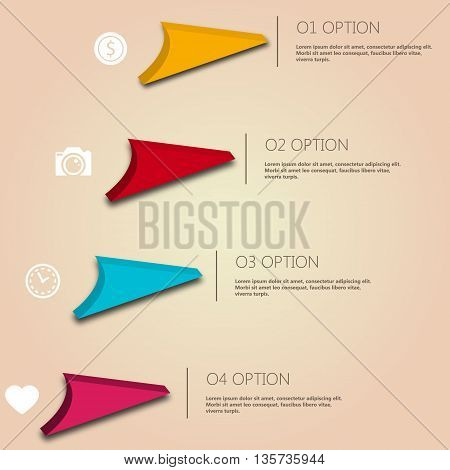 Infographic working experience for your buisness and presentation. Colorful elements. 4 Steps. Vector illustration EPS 10