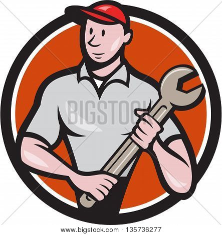Illustration of a mechanic worker standing looking to the side carrying spanner viewed from front set inside circle on isolated done in cartoon style.