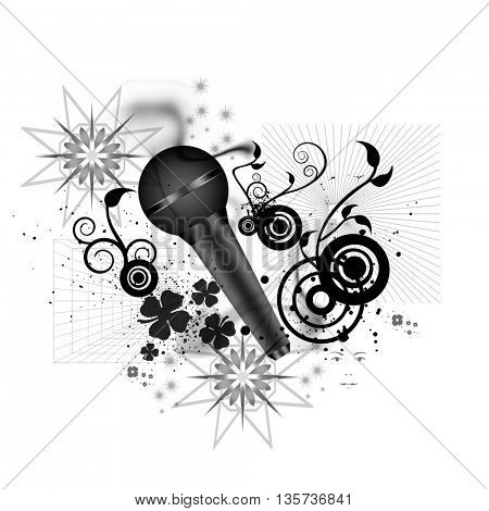 microphone and floral shapes