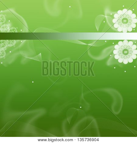 green background with flowers and smoke shapes