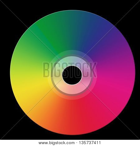 Disco cd  isolated on black background