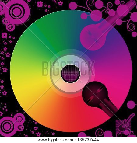 Music cd isolated on black background with two microphones and floral and round shapes