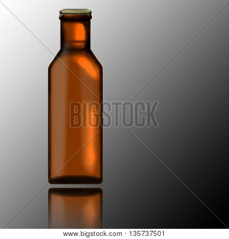 Beer bottle with its reflection