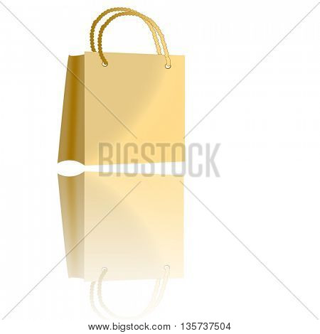 Beautiful beige shopping bag and its reflection