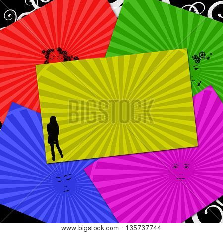 Abstract background with silhouette and faces