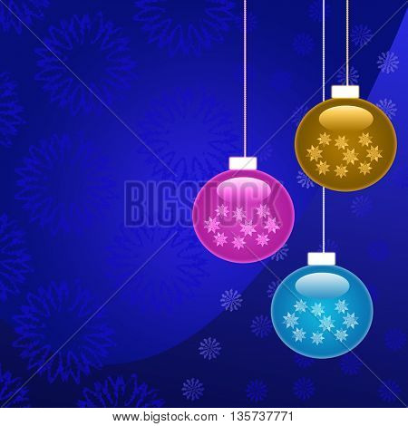 Beautiful colorful Christmas decorations on blue background