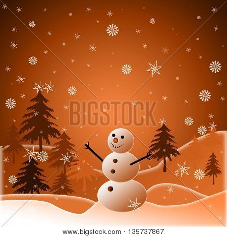 Beautiful winter snowy background with snowman