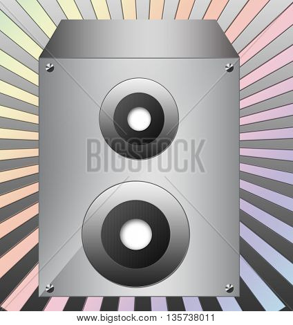 Silver speaker isolated on colorful background