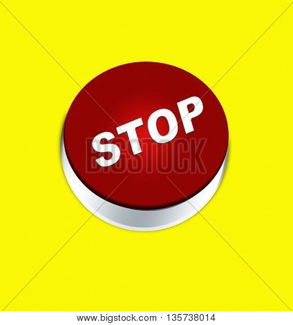 Button stop isolated on yellow background