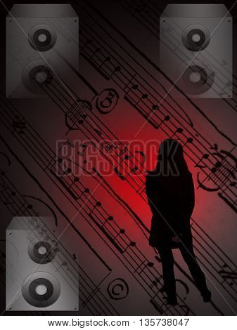 silhouette  of a girl,silver speaker and red light on notes