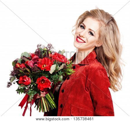 Smiling Model Holding Flowers Bouquet on white