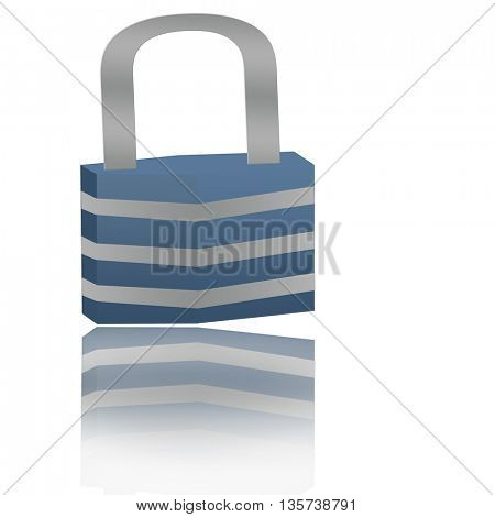 lock with its reflection isolated on white background