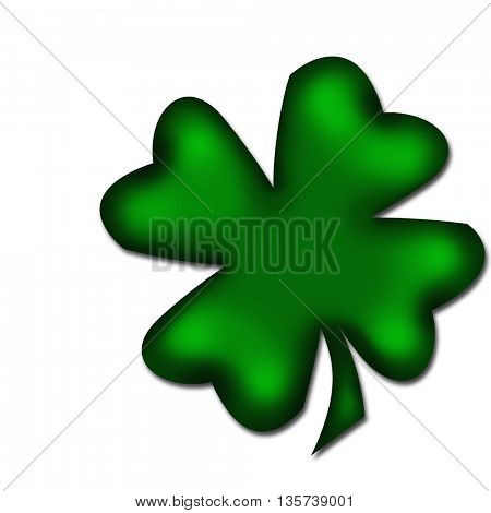four-leaved clover isolated on white