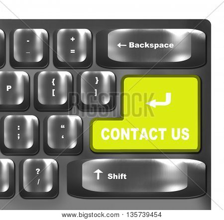 Green Contact Us key on a computer keyboard