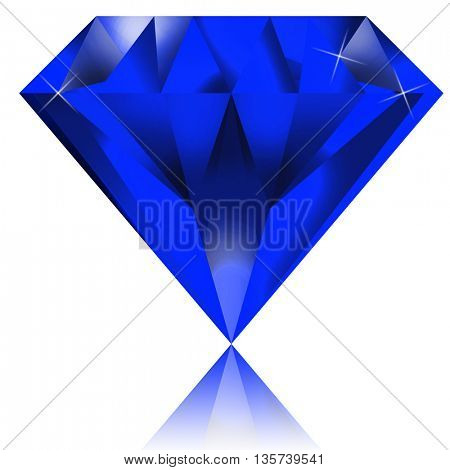 Blue diamond on white background