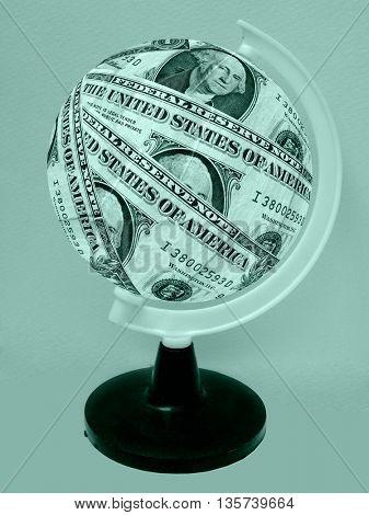 Globe formed of American dollar