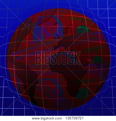 world map over the Earth Globe and dollars over it
