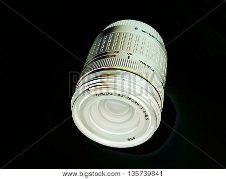 camera lens isolated in black background