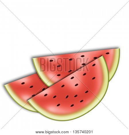 Seamless pattern with watermelon segments