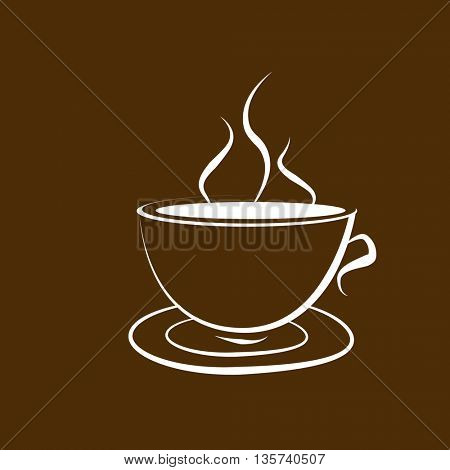 The cup of coffee on dark brown background - stylized image.