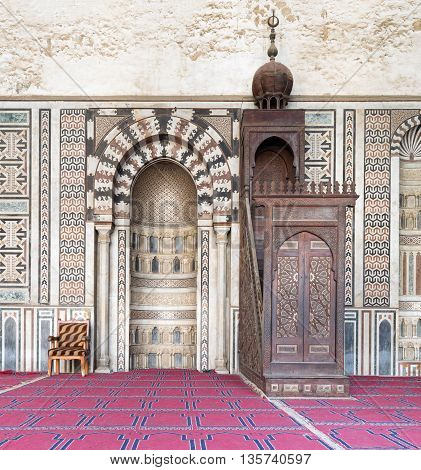 Cairo, Egypt - January 3, 2016: Interior of the Mosque of Al Nasir Mohammad Ibn Qalawun, situated in the Citadel of Cairo in Egypt