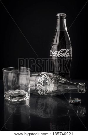 KUALA LUMPUR, MALAYSIA - MAY 29, 2016: Classic bottle Of Coca-Cola.