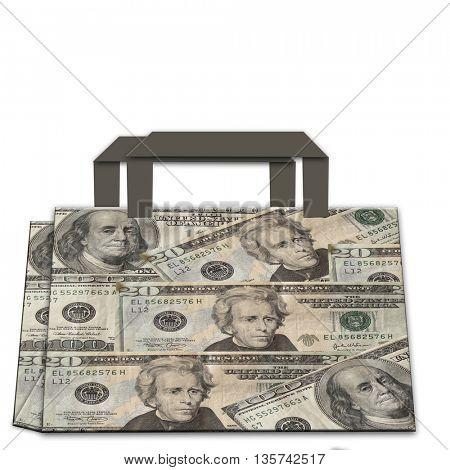 shopping bag made of dollars
