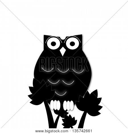 illustration of a black cartoon owl silhouette.