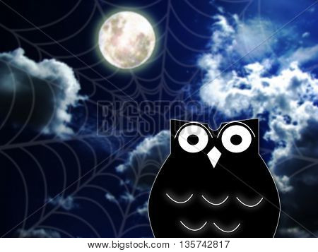 illustration of a black cartoon owl silhouette and spider web