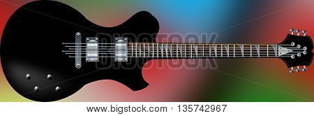 black beautiful electric guitars on a colorful background