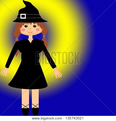 Witch and yellow-black background