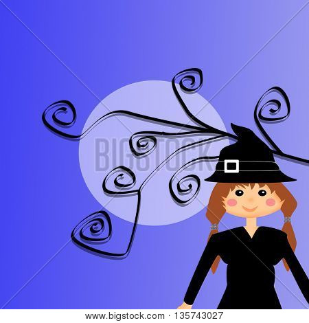 Full moon with curled branches and girl in witch costume in front of him
