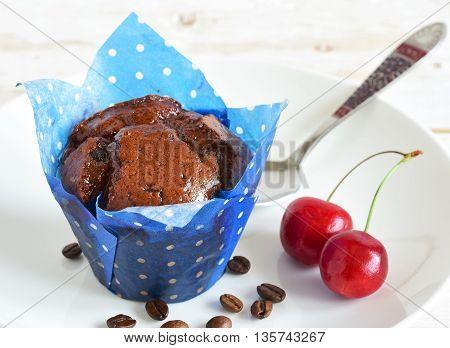 Cupcake In Blue Paper