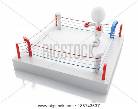 3d renderer image. White people with red boxing gloves in the ring. Sport concept. Isolated white background.