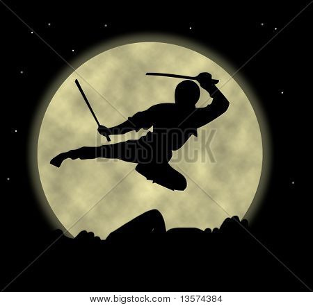 A ninja flying through the moonlight