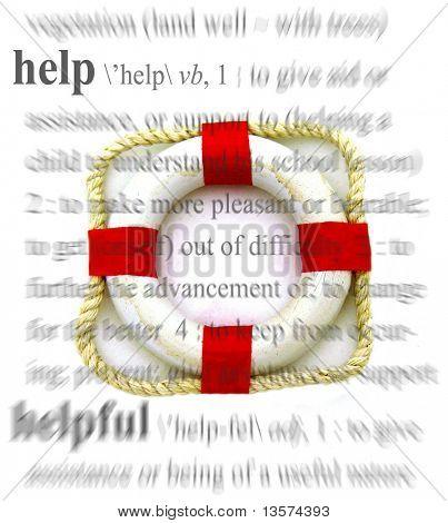 "A life preserver against a ""help"" theme"