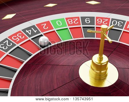 3d renderer image. Casino roulette wheel with ball on number 14. Gambling games.
