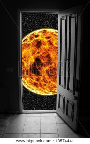 A photo of a doorway leading to space. Many metaphorical uses
