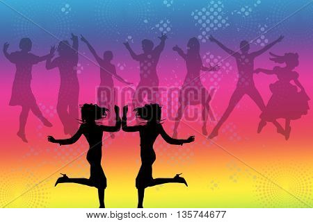 Dancing Silhouettes on multicolored background,two female figures in the front and group of dancers in the back