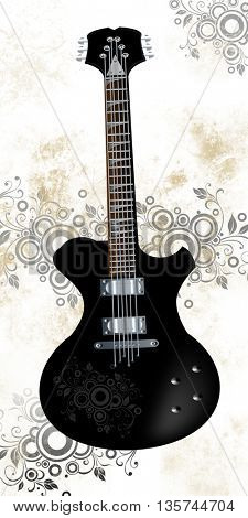 Beautiful illustration of electrical guitar isolated on vintage,grunge background