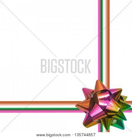 Big rainbow holiday bow on white background