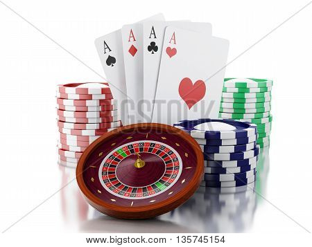 3d renderer image. Casino roulette wheel with chips and poker cards. Gambling games. Isolated white background.