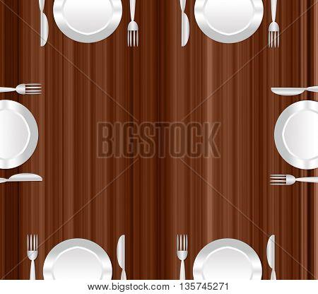 dinner plate, fork and knife on the desk
