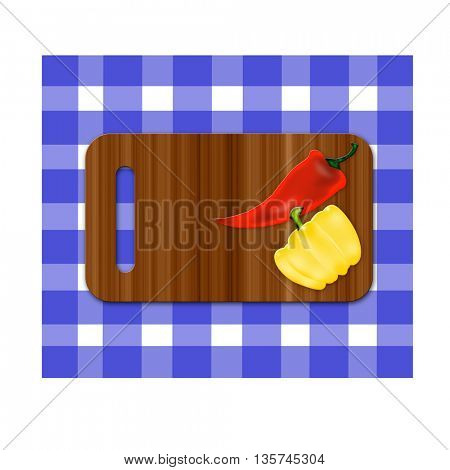chopping board on tablecloth and two pepper