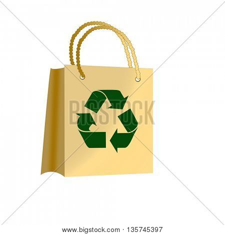 brown paper bags with recycle symbol. Textured effect.
