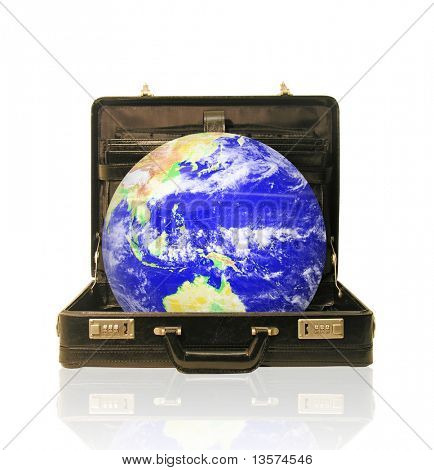 A photo of a globe coming out of a briefcase with a global business theme
