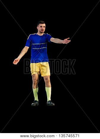 Soccer player have pain injury accident on football training isolated