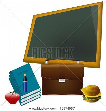 school concept - red heart shape apple on textbook against blackboard in class